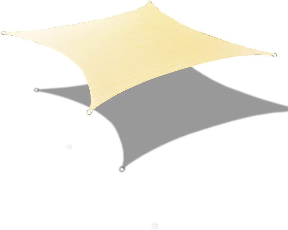 ALION HOME 14 x 16 Rectangle PU Waterproof Woven Sun Shade Sail Custom 1, Beige