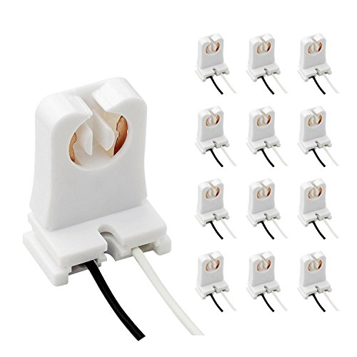 Pack of 12 UL Listed Non-Shunted T8 Lamp Holder,JACKYLED Socket Tombstone with 10 inches Wires Attached for LED Fluorescent Tube Replacements Turn-Type Lampholder