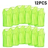 12 Pack Adult Football Training Vests, Breathable Mesh Hockey Scrimmage Jerseys Sports Bibs Pinnies for Soccer Volleyball Basketball