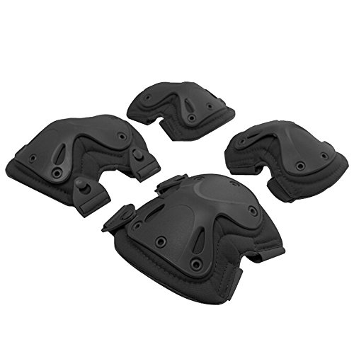Outdoor Sports Safety Guard Gear,Tactical Combat Knee & Elbow Protective Pads Skate Knee Pad Black(2Knee Pad and 2Elbow Pad )