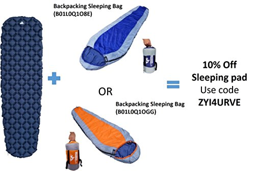 OutdoorsmanLab Ultralight Sleeping Pad – Ultra-Compact for Backpacking, Camping, Travel w/ Super Comfortable Air-Support Cells Design (Blue)