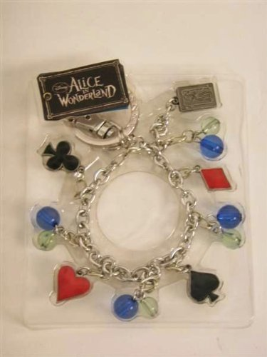 Disney Red Queen Key Ring Bracelet - with Card Symbols and H