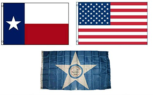 ALBATROS 3 ft x 5 ft American with City of Houston with State of Texas Set Flag for Home and Parades, Official Party, All Weather Indoors Outdoors -