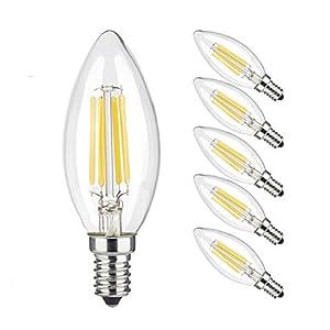 Ascher 5 x E14 C35 4W Ampoule de Filament LED ,Equivalent à lampe halogène 40W, 420 lumens, AC 220-240V -Blanc Chaud 2700K – Angle du faisceau 270°