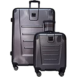 "Kenneth Cole Reaction Get Away 2-Piece Expandable Upright Luggage Spinner Set: 29"" and 16"" Carry On Under Seat Bag (Charcoal)"