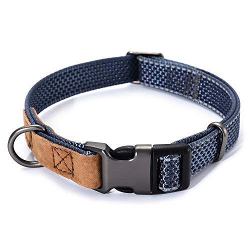 Mile High Life   Reflective Nylon Dog Collar w Genuine Leather Tip   Small Medium Large Dog Collar   Metal Buckle and D…
