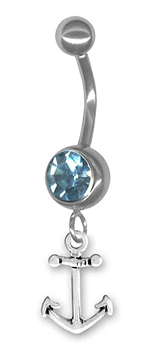 Amazoncom Petite Anchor Belly Button Ring 14g 916 14mm Long Bar