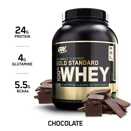 OPTIMUM NUTRITION GOLD STANDARD 100% Whey Protein Powder, Naturally Flavored Chocolate, 4.8 Pound (Chocolate Natural All)