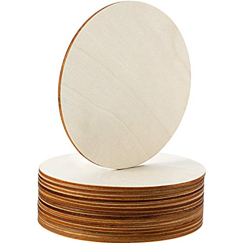 Boao Unfinished Wood Circle Round Wood Pieces Blank Round Ornaments Wooden Cutouts for DIY Craft Project, Decoration, Laser Engraving Carving, 1/8 Inch Thickness (5 Inch Diameter, 15 Pieces) ()
