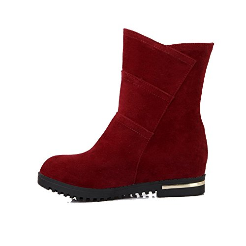 Toe Red Women's top Pull Frosted Allhqfashion Low Heels Round Kitten Boots on Closed 7Yq4vdw