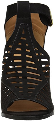 Qupid Women's Wood Heeled Sandal Black Suede Polyurethane F37mPo