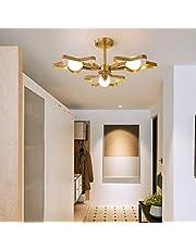 Kroonluchters LTJ 3 Heads koper vijfpuntige ster Warm Romantisch Lamp van het Plafond (zonder lichtbron) nieuw in 2020 (Color : Three-color Light)
