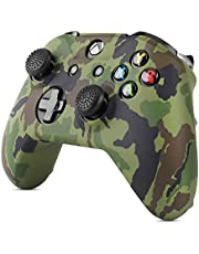 TNP Silicone Gel Controller Skin Set for Xbox One S / One X - Soft Rubber Grip Protective Case Cover & 4 Large 4 Small Anti-Slip Thumbstick Caps for Microsoft Wireless Gaming Gamepad (Camo Green)