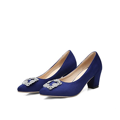 Allhqfashion Femmes Imité Daim Chaton-talons Pointus Bout Fermé Pompes-chaussures Royalblue