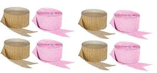 Gold Metallic Crepe Paper Streamers Combinations (4 Rolls Pink + 4 Rolls Gold Metallic)