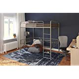 DHP Full Metal Loft Bed with Ladder, Space-Saving Design, Silver Silver