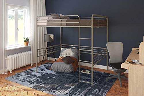 Silver Full Metal - DHP Full Metal Loft Bed with Ladder, Space-Saving Design, Silver