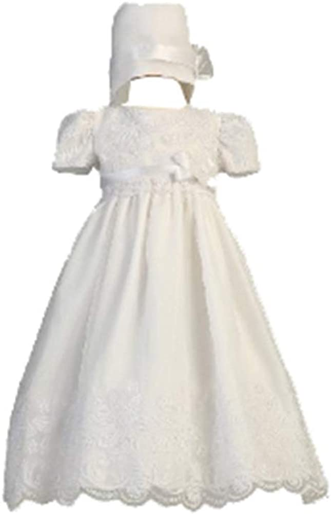 Swea Pea & Lilli Long White Classy Embroidered Organza Christening Gown with Matching Hat