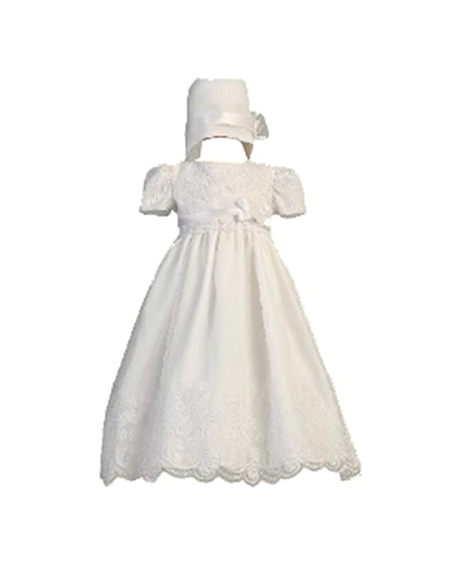 fc9def0dd6 Amazon.com  Long White Classy Embroidered Organza Christening Gown with  Matching Hat  Infant And Toddler Christening Apparel  Clothing