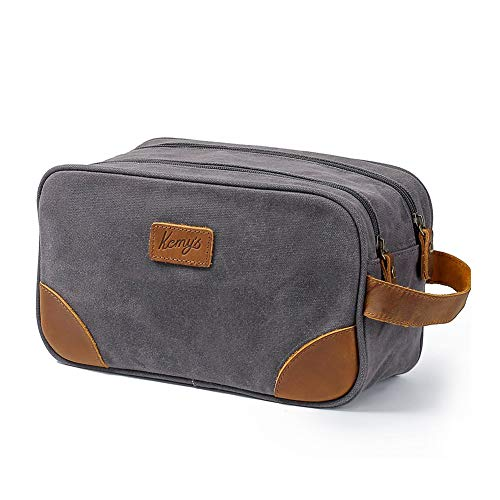 Kemy's Mens Toiletry Bag leather Canvas Toiletries Travel Bag Waxed Grooming Shaving Bags for Men Dopp Dob Dobb Kits Toilet Hygiene Bathroom Bag Double Compartment for Traveling Waterproof Gifts Gray