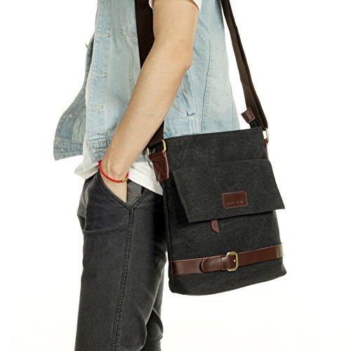 Retro trend canvas bag / casual shoulder bag / Messenger bag outdoor / Business oblique backpack-black (Trend Rucksack)