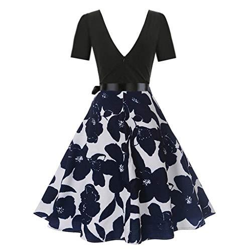 Landfox Dress, Women's Short Sleeve Pleated Loose Print Vintage Flare Dress Navy]()