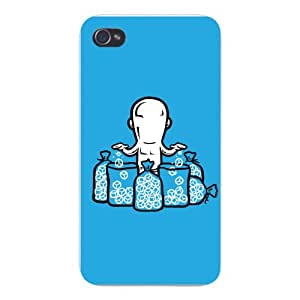 """Apple iPhone Custom Case 4 4S White Plastic Snap On - """"Part Time JOB Ice Cube Manufacturer"""