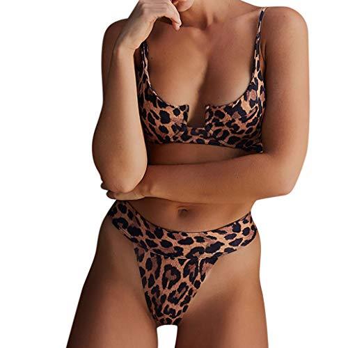 MmNote swimwear for women, Women's Two Piece Leopard Print High Waist Removable Bikini Set Swimwear Brown