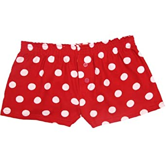 Red and White Polka Dot Novelty Print Flannel Boxer Shorts at ...