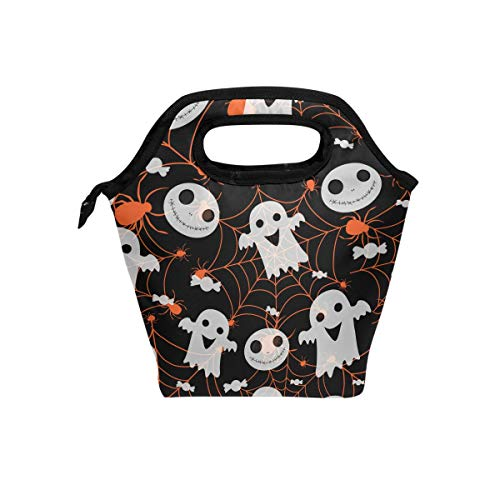 My Little Nest Insulated Cooler Tote Lunch Bag Halloween Spider Ghost Work Picnic Food Organizer Lunchbox for Women Men Kids -