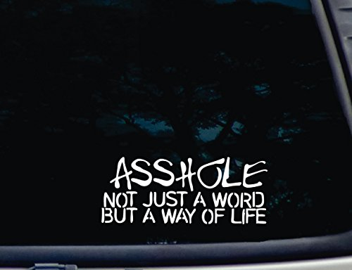 "ASSHOLE Not just a Word but a WAY OF LIFE - 8"" x 3 1/4"" die cut vinyl decal"