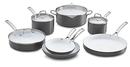 Calphalon 11 Piece Classic Ceramic Nonstick Cookware Set, Grey/White, Small