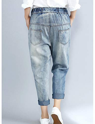 Pantalon Femme Brodé Blue Jeans Fleurs Yfltz Light À E1w66
