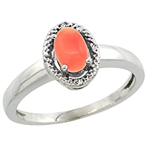 10K White Gold Diamond Halo Natural Coral Ring Oval 6X4 mm, 3/8 inch wide, size 9