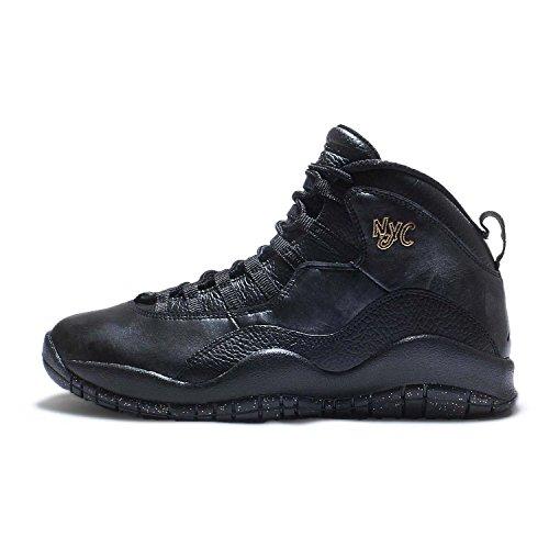 Jordan Mens Retro 10 NYC Basketball Shoes Black Dark Grey Metallic Gold