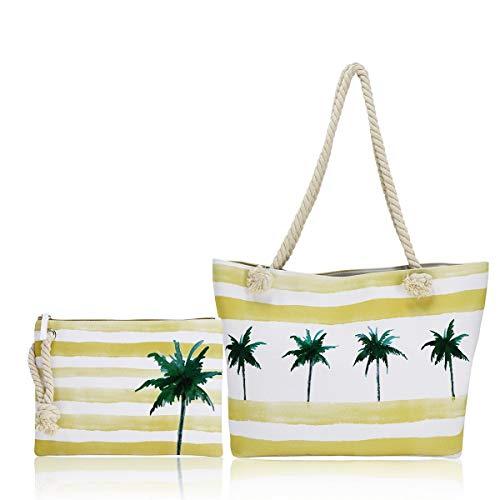 FARI Große Strandtasche Damen, Reisetaschen Canvas Schultertasche Shopper mit Reißverschluss (Palme)