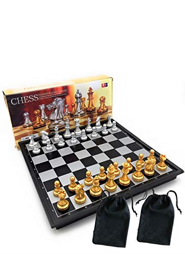 CHESS PRO Chess Set Magnetic with Storage Travel Folding Portable Board Game Educational Toy for Kids, Premium Gold & Silver Painted Chess Pieces 9.7 Inch