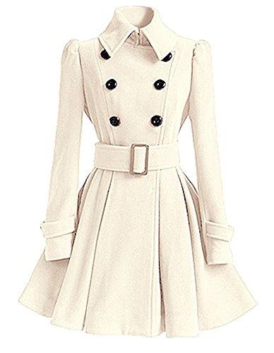 Minetom Femme Hiver Manches Longues Coton Manteau De Veste De Manteau D'hiver Parka Coat College Jacket Blanc