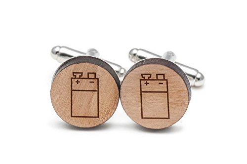 Price comparison product image Wooden Accessories Company 9V Battery Cufflinks,  Wood Cufflinks Hand Made in The USA