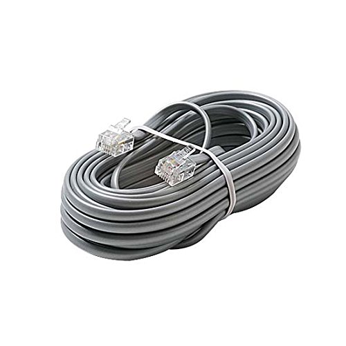 25' FT Telephone Cord Cable 6 Conductor Flat Silver Satin RJ12 Modular Plug 6P6C Cord Connect RJ-12 Communication Wire Extension Cable