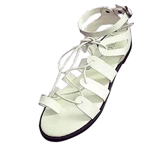 Gaorui Femmes Plat Gladiateur Sandale Thong Tongs Bride À La Cheville Chaussure Mode Été Blanc