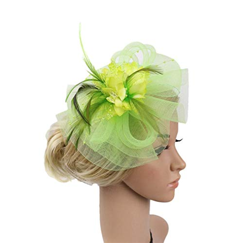 - Egmy Clearance Sale ❤️ Women Fashion Wedding Mesh Hat Fascinator Penny Ribbons and Feathers Party Headwear (Green)