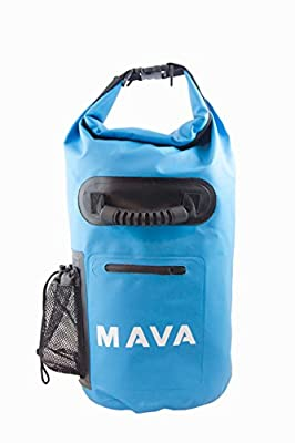 Waterproof Dry Bag for Boating, Kayaking, Fishing, Rafting,Camping,Canoeing & Snowboarding with Zipper Pocket & Water Bottle Pocket - Backpack & Shoulder Straps- Heavy Duty-Lightweight by Mava ™