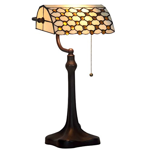 Bieye L10309 Tiffany Style Stained Glass 10-inch Jeweled Banker Table Lamp (Brown Glass Table Lamp)