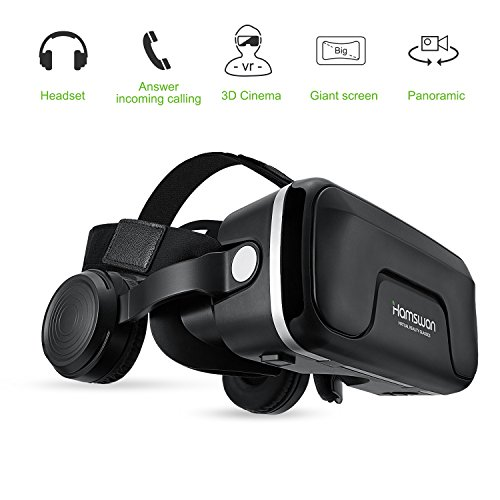 Cheap VR Headset, HAMSWAN 3D VR Glasses Virtual Reality Glasses with Built-in Headset 120 Degree FOV and Multifunction Button Compatible with iPhone, Samsung and Other Smartphone
