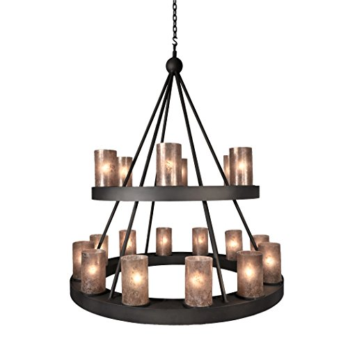 Steel Partners Lighting 2001 Mb Montecito Chandelier With Amber Mica Lens  Mountain Brown Finish