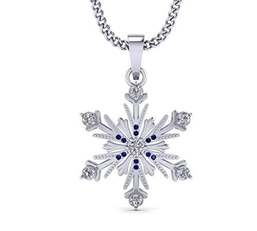 White Gold Diamond Snowflake Pendant - Fehu Jewel Women's Snowflake Pendant Diamond Necklace White and Blue Diamond 1/5ct Natural Diamond
