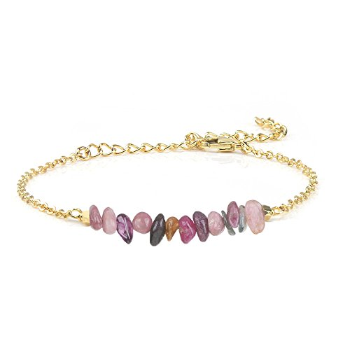 Jeka Stone Bar Bracelet for Women Girls Colorful Tourmaline Natural Gemstone 18K Gold Plated Chain Jewelry Dainty Gift