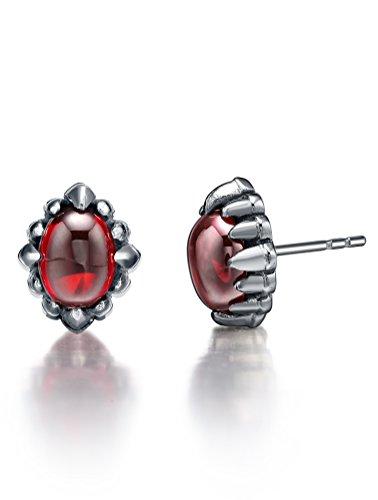 Boucles d'oreilles en acier inoxydable, Griffe avec rouge ovale cristal