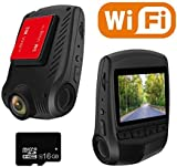 WiFi Dash Cam Full HD 1296P 2.0' LCD 170° Wide Angle Car Camera Dash Camera for car with 16GB TF Card Included